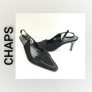 Chaps sling back heels Black Size 8.5B